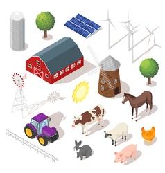 Isometric 3d farm set farm animals vector