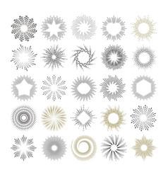 set of handmade sunburst design elements vector image vector image