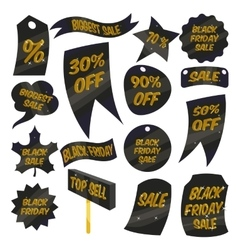 Black Friday Sales labels icons set cartoon style vector image vector image
