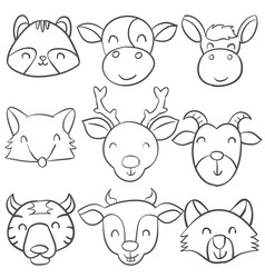 doodle animal collection style vector image vector image