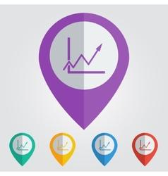 flat color pins with grafic arrow icon vector image vector image