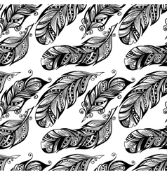 Hand drawn dotted feathers set on white background vector image