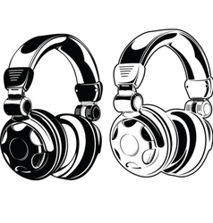 Headphones One Color Drawings vector image vector image
