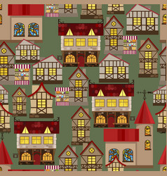 medieval city seamless pattern vector image vector image