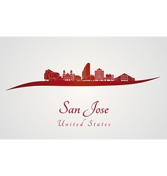San Jose skyline in red vector image vector image