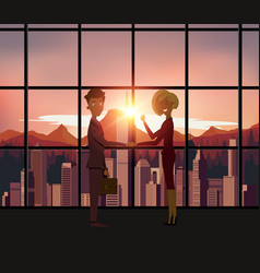 Silhouette business people handshake with city vector