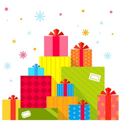 Christmas of the piles of presents on white vector image vector image