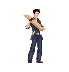 Full length young and handsome worker shouldering vector image