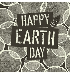 Happy Earth Day Logotype on Tree Rings Seamless vector image vector image