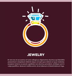 jewelry golden diamond wedding ring poster vector image vector image