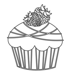 silhouette sketch cupcake with two strawberry vector image vector image