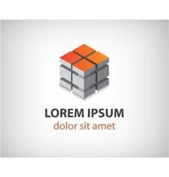 abstract 3d cube construction logo vector image