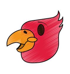 Color pencil cartoon eagle head mascot vector