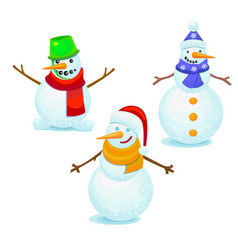 colorful snowmen set vector image