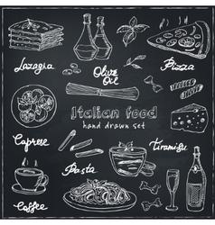 hand drawn set with italian food Vintage vector image