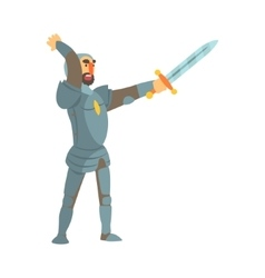Knight Attacking With Full Body Armor And Sword vector image vector image