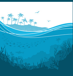 underwater sea background with sea waves and vector image