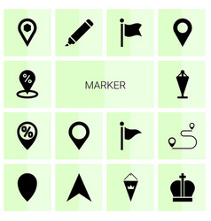 14 marker icons vector image