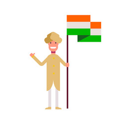 A hindu man is standing with a flag smiling and vector