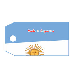 Argentina flag on price tag with word made in vector