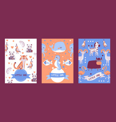 banners with cute animals in cartoon style vector image