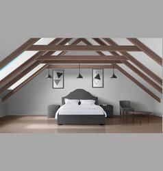 Bedroom on attic modern home mansard interior vector
