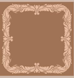 beige filigree ornamental frame on brown vector image
