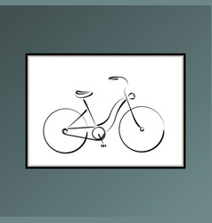 bicycle poster in black and white for interior vector image