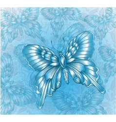 Bright Blue butterfly and decorative grungy vector image