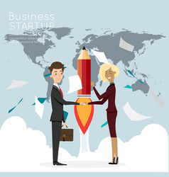 businessman handshake with worldmap for start up vector image