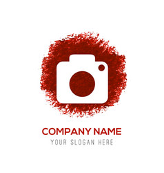 Camera icon - red watercolor circle splash vector
