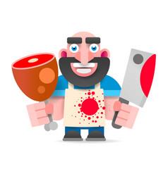 Cartoon butcher cut the meat vector