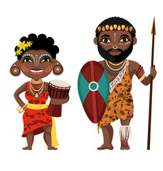 Cartoon color characters people african concept vector