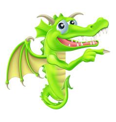 cartoon dragon peeking round sign vector image