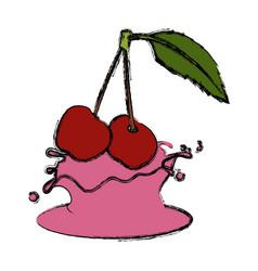 cherries and cream cute kawaii cartoon vector image