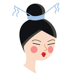 Chines girl on white background vector