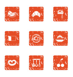 Clause of food icons set grunge style vector