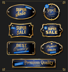Collection of elegant blue and gold badges vector