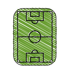 color crayon stripe cartoon soccer field grass vector image