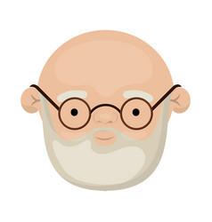colorful face of bald grandfather with beard and vector image