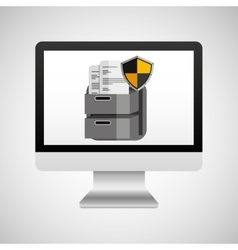 Computer protection file document icon design vector