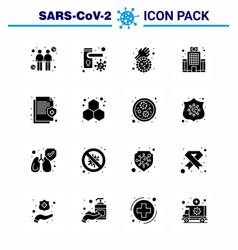 coronavirus prevention set icons 16 solid glyph vector image