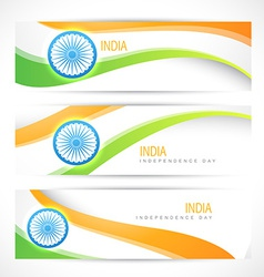 creative indian flag headers vector image