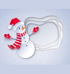 Cut paper art style of snowman vector