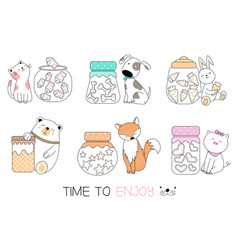 Cute baby animal with candy cartoon hand drawn vector