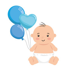 cute little baby boy with balloons helium isolated vector image