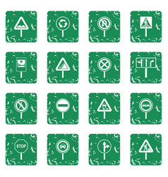 Different road signs icons set grunge vector
