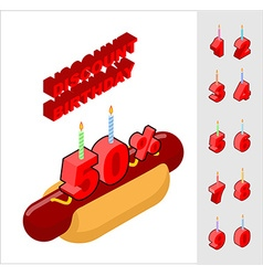 Discounts for birthday when buying hot dog Candles vector