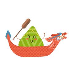 dragon boat festival kawaii chinese vector image