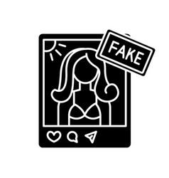 Fake influencer black glyph icon fraud blogger vector